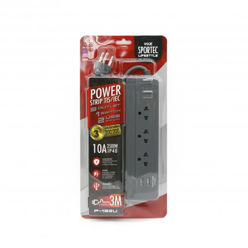 Power Strip 3 Outlet 1 Switch 2 USB 3M. Gray