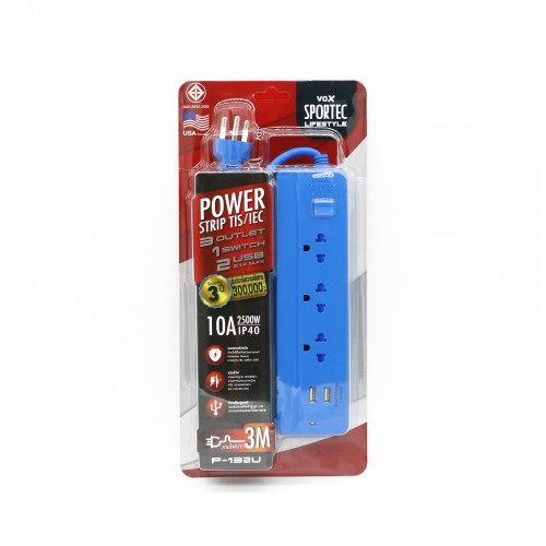 Power Strip 3 Outlet 1 Switch 2 USB 3M. Blue