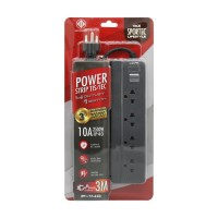 Power Strip 4 Outlet 1 Switch 3M. Grey