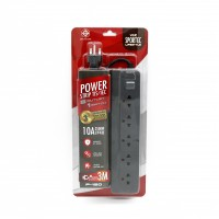 Power Strip 5 Outlet 1 Switch 3M. Grey