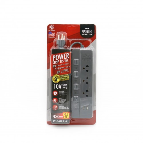 Power Strip 3 Outlet 4 Switch 2 USB 5M. Gray